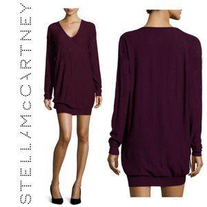 Stella McCartney Purple Vneck Wool Long Sleeve Dress
